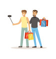 man shopping in a mall and making selfie colorful vector image
