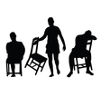 man with chair silhouette vector image vector image