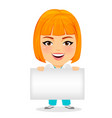 medical doctor woman with blank sign funny vector image