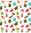 merry christmas seamless pattern set icons vector image vector image