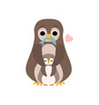 mother penguin and its baby cute birds family vector image vector image