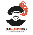 moustached man in old style with a old hat vector image vector image
