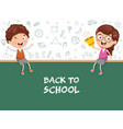 of kids sitting on blank board vector image vector image