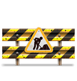 Old Striped Barrier with Sign vector image vector image