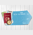 passport with airline boarding pass ticket and vector image vector image