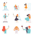 people taking selfie photo on smartphones set vector image vector image