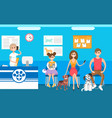 pets clinic veterinary receptionist and queue vector image vector image