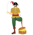 Pirate was standing holding a drawn sword vector image