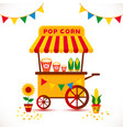 popcorn cart carnival store and festival popcorn vector image vector image