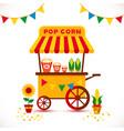 popcorn cart carnival store and festival popcorn vector image