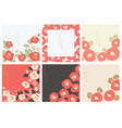red camellia flower with japanese pattern vector image