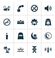 Religion icons set with clock muslim adhaan and vector image