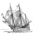 sailing ship vintage frigate on waves hand vector image vector image