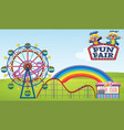 scene with ferris wheel and roller coaster in the vector image vector image