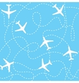 Seamless background airplanes flying with dashed vector image vector image