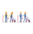 set of male and female worker with wheelbarrow and vector image vector image