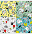 set of seamless patterns with dead unicorns vector image