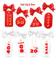 set white and red sale price tags and lables vector image