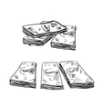 Sketch of dollar bills stacks vector image vector image