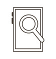 smartphone device with magnifying glass line style vector image vector image
