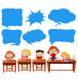 speech bubble template with kids in classroom vector image vector image