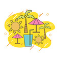 summer with linear icons and signs travel vector image vector image