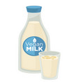 vegan milk vegetarian dairy product in bottle and vector image