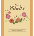 vintage flowers decoration icon vector image