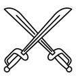 warrior crossed sword icon outline style vector image