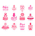 happy 8 march women day posters set love spring vector image