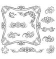 Vintage floral engraving decor elements vector image