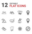 12 adventure icons vector image vector image
