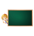 a girl and a green board vector image vector image