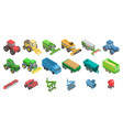 agricultural machines icons set isometric style vector image vector image