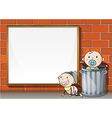 Babies near the wall with an empty signboard vector image vector image