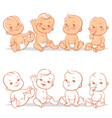 baby in diaper set vector image