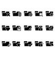 black file folder icons set vector image vector image