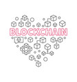 blockchain technology heart i love block chain vector image