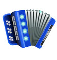 blue accordion with patterns snowflake isolated on vector image