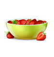 bowl strawberries realistic berries and bowl vector image vector image