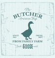 Butcher american shop label design with goose bird