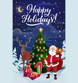 christmas tree with santa deer and xmas gifts vector image vector image