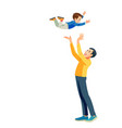 dad and son having fun together role model vector image vector image