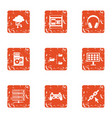 date advice icons set grunge style vector image vector image