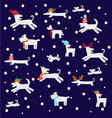 dogs pattern Christmas set with dog silhouettes vector image vector image