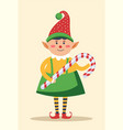 elf wearing traditional clothes holding candy vector image