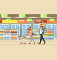 family shopping in supermarket vector image