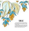 flowers invitation card template design leaves vector image