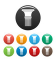 fluted column icons set color vector image vector image