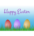 happy easter greeting card with three colored vector image